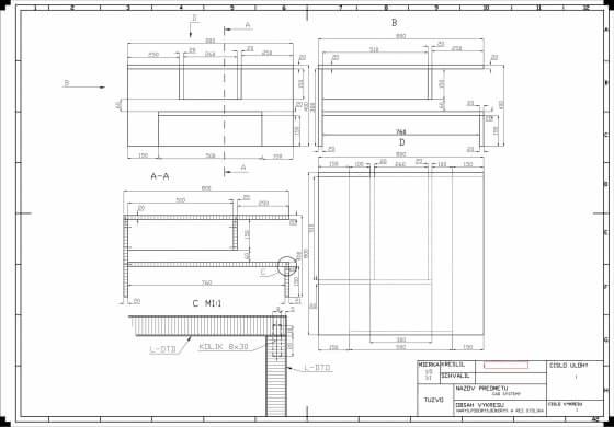 Technický výkres nábytku 2D AUTOCAD