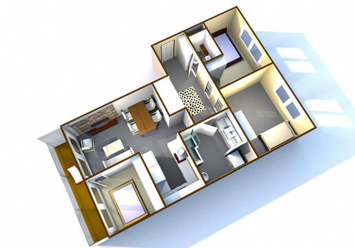 3D půdorysy bytů a domů pro realitní kanceláře