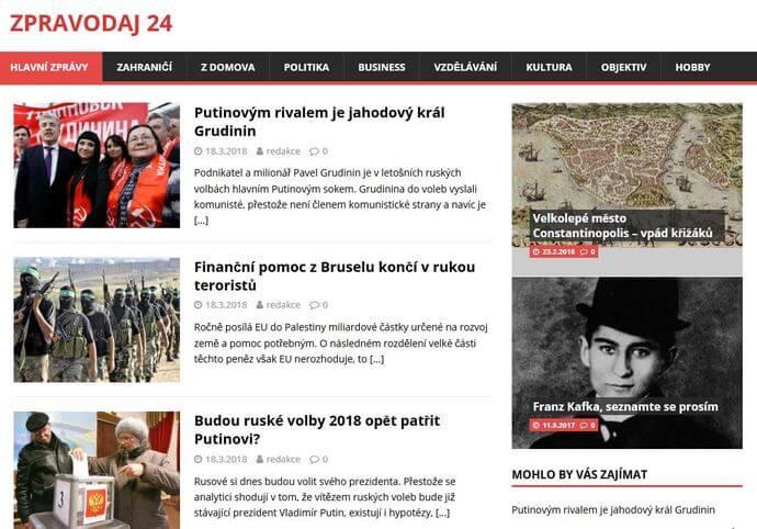 Publikace PR článku na zpravodajském webu