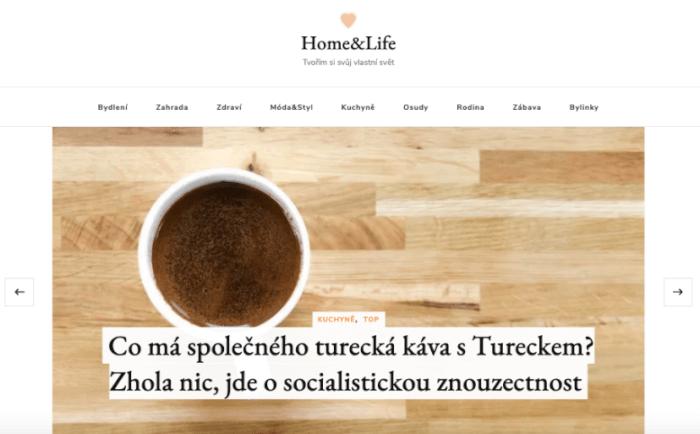 Publikace PR článku v magazínu pro ženy homeandlife.cz