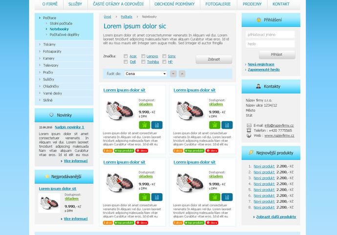 Doplňování Eshopu produkty v ceně 20 produktu.
