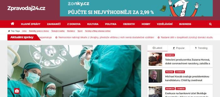 Horizontální banner v hlavičce zpravodajského webu