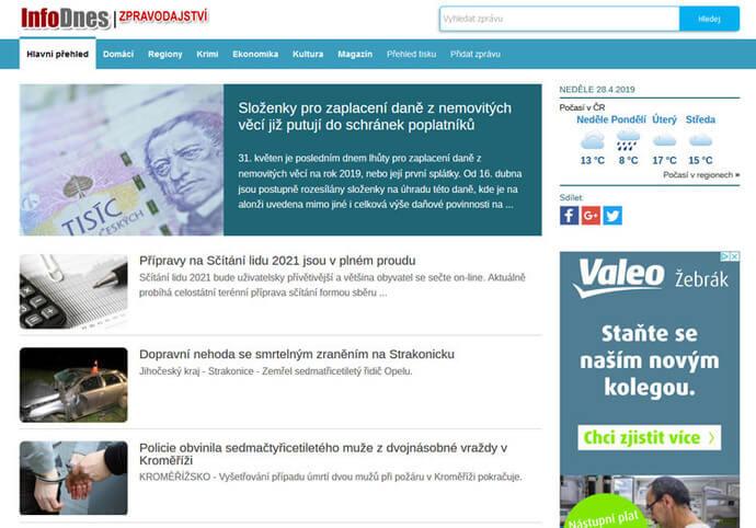 Publikujeme PR článek nastálo na webu InfoDnes.cz
