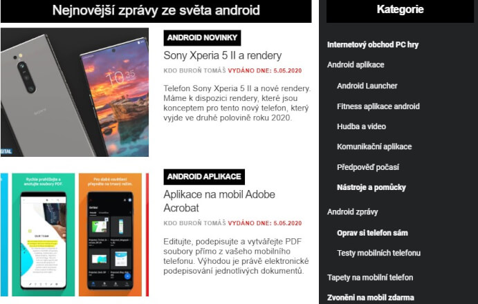 Nabízím publikaci PR článku na serveru Androiduj.cz