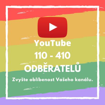 110 až 410 odběratelů pro Váš účet na YouTube