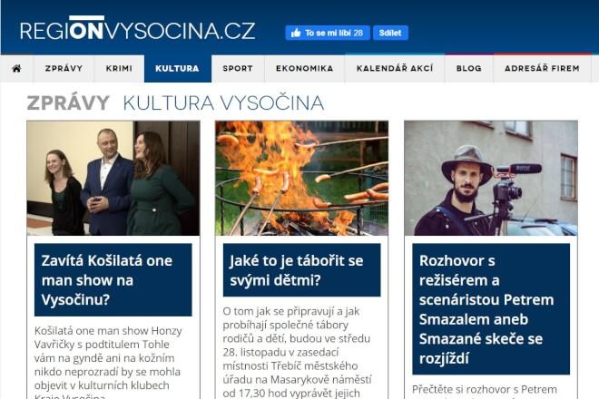 Publikujeme článek na webu REGIONVYSOCINA.CZ