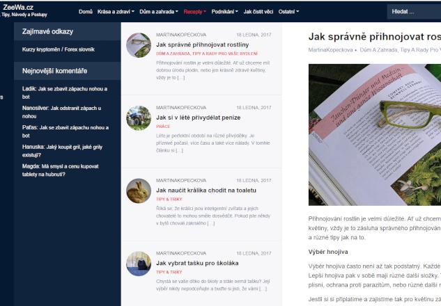 PR článek nastálo na webu ZeeWa.cz (Autorita 25 DA)