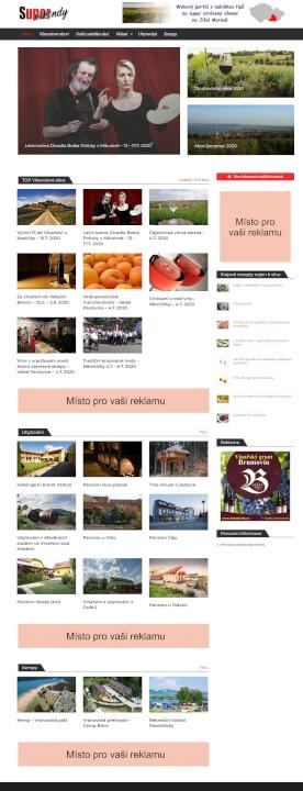 Reklama na webových stránkách supervíkendy na jižní moravě