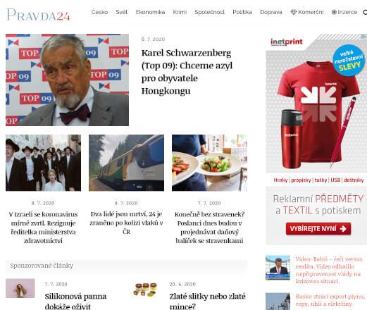 Publikace PR článku na zpravodajském portálu Pravda24.cz
