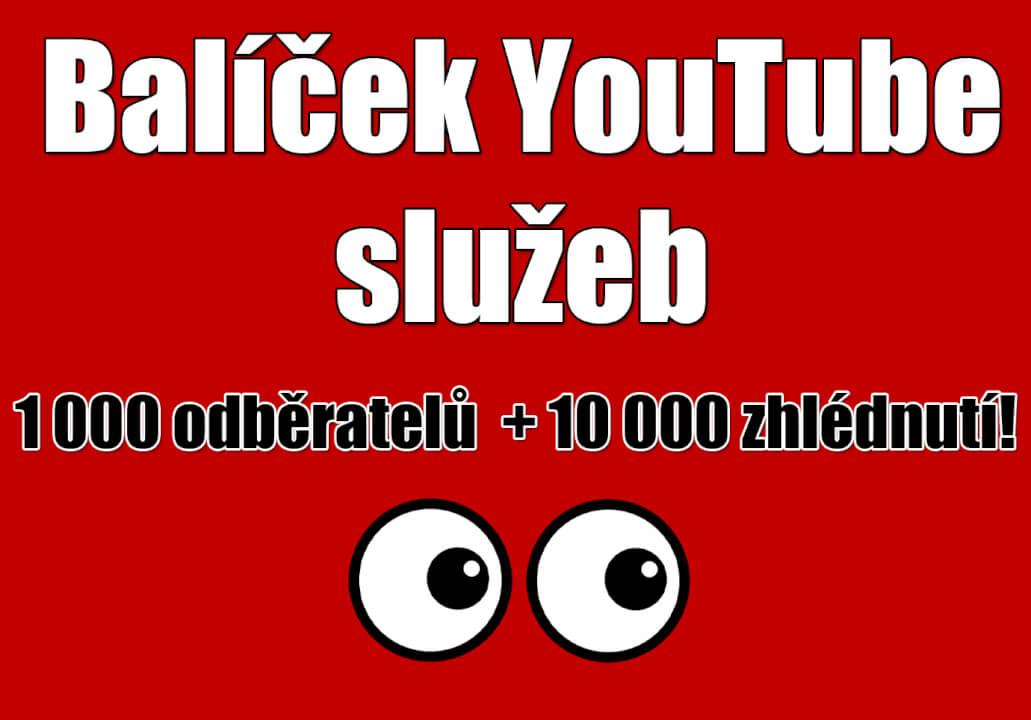 Balíček YouTube služeb (odběratelé + zhlédnutí)