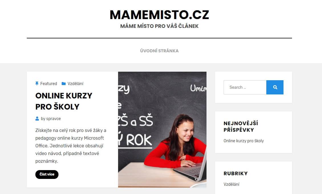 Publikování PR článku na webu MAMEMISTO.cz