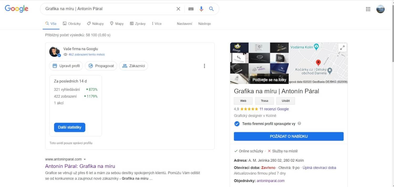 Správa účtu Google My Business a Sfirmy