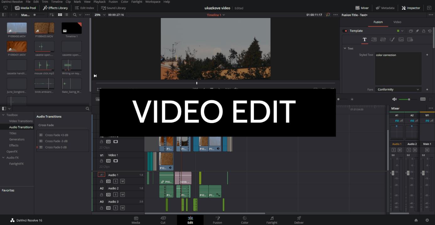 Edit videa - střih, hudba, zvuk, barva, základní efekty