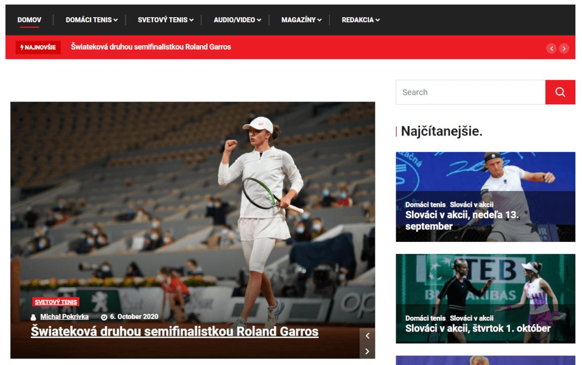 PR článok na tenisovom webe forhend.sk