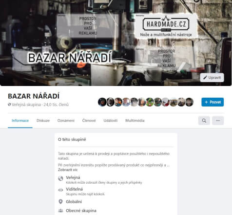 Reklama na Facebook skupině Bazar nářadí 28000+ členů