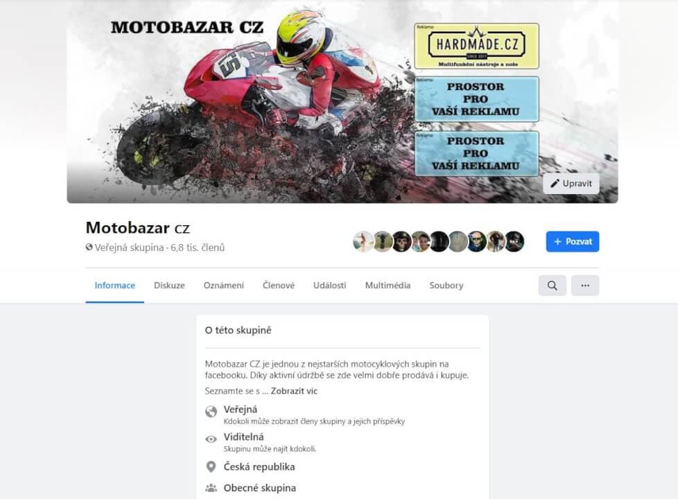 Reklama na Facebook skupině Motobazar cz 7500+ členů