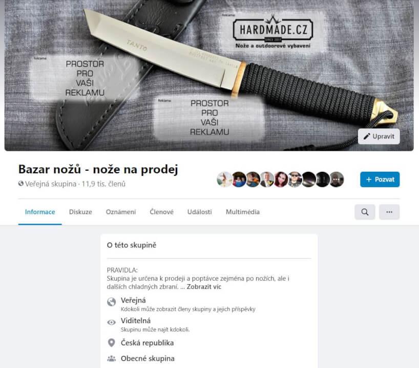 Reklama na Facebook skupině Bazar nožů 13900+ členů
