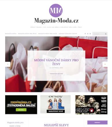 Reklamní banner na hlavní stránce v magazínu módy