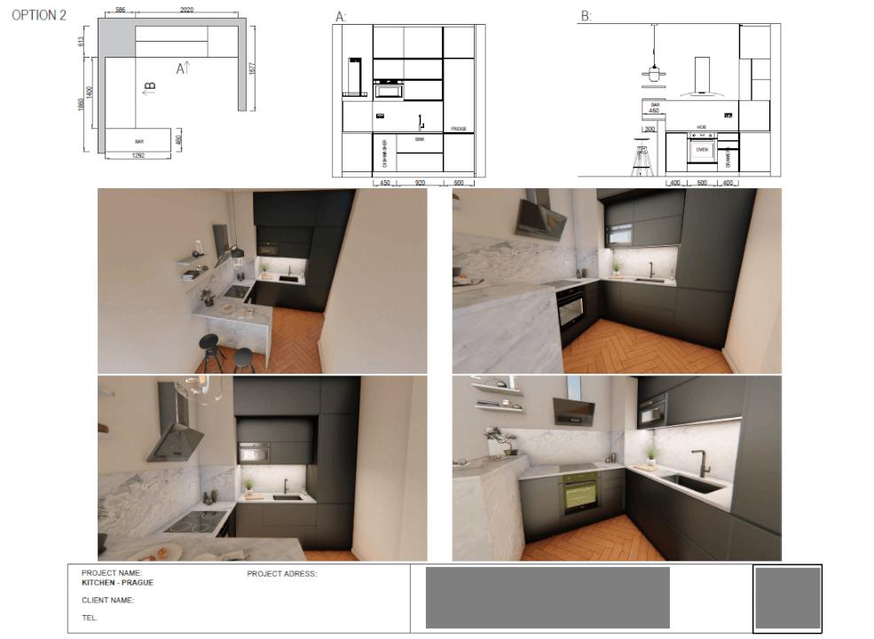 kuchyně - 2D výkres a vizualizace