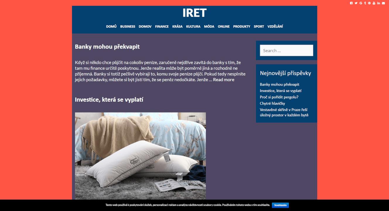 Publikace PR článku do magazínu iret.cz