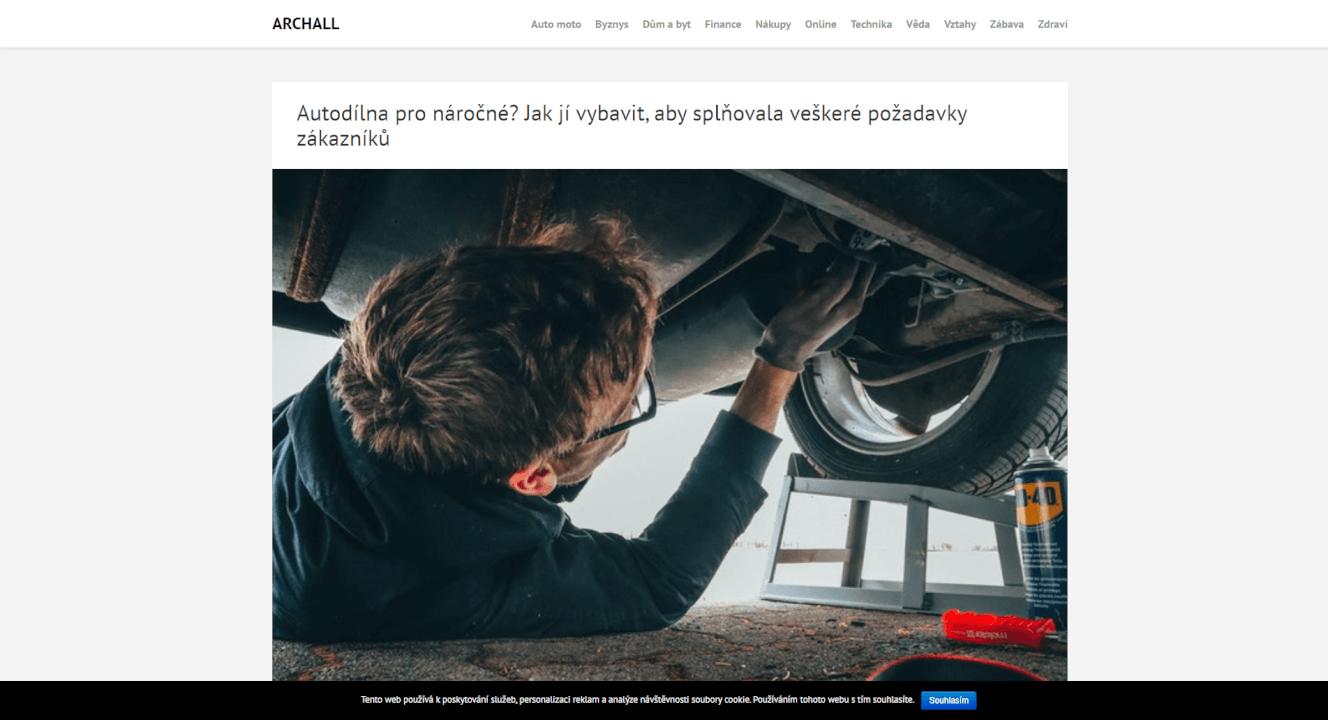 Publikace PR článku do magazínu archall.cz